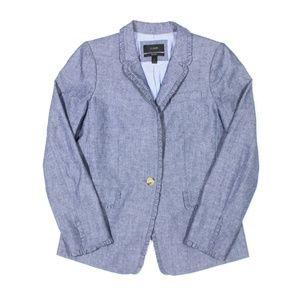 J. Crew Regent Blazer Jacket Ruffle Trim Chambray